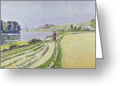 Pointillist Painting Greeting Cards -  Herblay La River  Greeting Card by Paul Signac