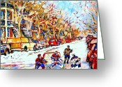 Hockey Art Greeting Cards -  Hockey Game On Colonial Street  Near Roy Montreal City Scene Greeting Card by Carole Spandau