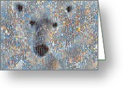 Grid Of Heart Photos Digital Art Greeting Cards -  Holiday Hearts Polar Bear Greeting Card by Boy Sees Hearts