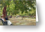 Sat Greeting Cards -  Hyde Park - London Greeting Card by Count Girolamo Pieri Nerli