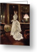 Evening Dress Greeting Cards -  Interior scene with a lady in a white evening dress  Greeting Card by Paul Fischer