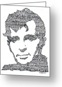 Burn Greeting Cards -  Jack Kerouac Black and White Word Portrait Greeting Card by Smock Art