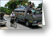 Burma Greeting Cards -  Jam packed bus Greeting Card by RicardMN Photography