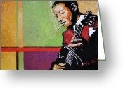 Oil Greeting Cards -  Jazz Guitarist Greeting Card by Yuriy  Shevchuk