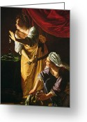 Plot Greeting Cards -  Judith and Maidservant with the Head of Holofernes Greeting Card by Artemisia Gentileschi