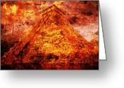 Mayan Art Greeting Cards -  Kukulcan Pyramid Greeting Card by Juan Jose Espinoza