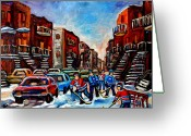 Hockey Street Scenes In Montreal Greeting Cards -  Late Afternoon Street Hockey Greeting Card by Carole Spandau