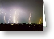 Unusual Lightning Greeting Cards -  Lightning Thunderstorm View from Oaxaca Restaurant   Greeting Card by James Bo Insogna