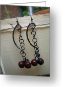 Metal Jewelry Greeting Cards -  Link Gun Metal Earrings Greeting Card by Beth Sebring