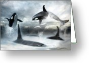 Dolphin Digital Art Greeting Cards -  Lost Horizons Greeting Card by Trudi Simmonds