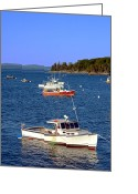 Small Greeting Cards -  Maine Lobster Boat Greeting Card by Olivier Le Queinec