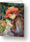 Standing Painting Greeting Cards -  Marie Therese Durand Ruel Sewing Greeting Card by Pierre Auguste Renoir