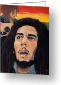 Guitar Pastels Greeting Cards -  Memory of Bob Marley Greeting Card by Joyce Hayes
