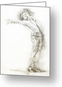 Michael Jackson Greeting Cards -  Michael Jackson Live Greeting Card by David Lloyd Glover