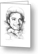 Jackson 5 Greeting Cards -  Michael Jackson Smile Greeting Card by David Lloyd Glover