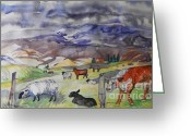 It Is As It Was Greeting Cards -  Mixed Farm Animals graze in Field Greeting Card by Annie Gibbons