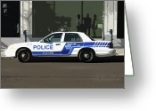 Cop Cars Greeting Cards -  Montreal Police Car Poster Art Greeting Card by Reb Frost