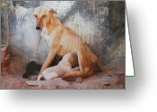 Puppies Greeting Cards -  Mothers Love Greeting Card by Dorota Nowak