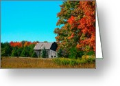Red Barn Greeting Cards -  Old Barn In Fall Color Greeting Card by Robert Pearson