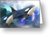Dolphin Digital Art Greeting Cards -  Orca Wild Greeting Card by Trudi Simmonds