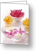 Vibrant Photo Greeting Cards -  Orchid Head And Candle  Greeting Card by Atiketta Sangasaeng