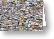 Rhodes Greece Greeting Cards -  overlooking Lindos Greeting Card by Mike Gorton