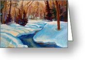 Sunset Scenes. Painting Greeting Cards -  Peaceful Winding Stream Greeting Card by Carole Spandau