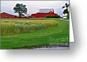Pa Barns Greeting Cards -  Pennsylvania Farm Greeting Card by Louise Peardon