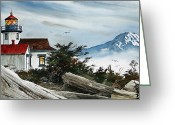 Pacific Northwest Lighthouse Framed Print Greeting Cards -  Point Robinson Lighthouse and Mt. Rainier Greeting Card by James Williamson