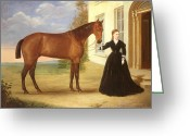 Horses Greeting Cards -  Portrait of a lady with her horse Greeting Card by English School