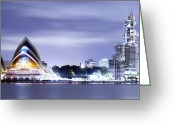 Sydney Harbour. Circular Quay Greeting Cards -  Power Balance Greeting Card by Mark Lucey