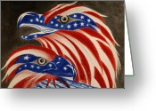 Usa Flag Pastels Greeting Cards -  Proud of Eagle Greeting Card by Jalal Gilani