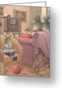Evening Drawings Greeting Cards -  Rabbit Marcus the Great 08 Greeting Card by Kestutis Kasparavicius