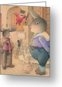 Evening Drawings Greeting Cards -  Rabbit Marcus the Great 21 Greeting Card by Kestutis Kasparavicius