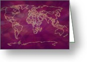 Earth Map Greeting Cards -  Radiant World Map digital art Greeting Card by Georgeta  Blanaru