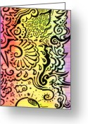 Swirls Drawings Greeting Cards -  Rainbow Atmosphere Greeting Card by Mandy Shupp
