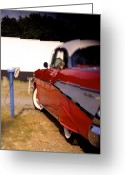 Street Rod Photo Greeting Cards -  Red Chevy at the Drive-In Greeting Card by Robert Ponzoni