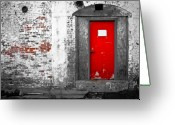 Red Building Greeting Cards -  Red Door Perception Greeting Card by Bob Orsillo