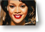 Babe Mixed Media Greeting Cards -  Rihanna Portrait A Greeting Card by Andre Drauflos