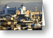 Centre Greeting Cards -  Romes rooftops Greeting Card by Fabrizio Troiani