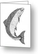 Tribal Drawings Greeting Cards -  Salmon II Greeting Card by Carol Lynne