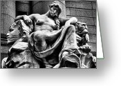 Wall Street Greeting Cards -  Sculpture in Downtown NYC Greeting Card by Val Black Russian Tourchin