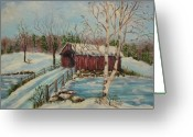 Covered Bridge Painting Greeting Cards -  Snow Covered Bridge Greeting Card by Irene McDunn
