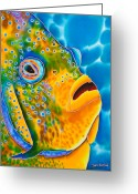 Life Tapestries - Textiles Greeting Cards -  Spotted Angelfish Greeting Card by Daniel Jean-Baptiste
