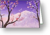 Cherry Drawings Greeting Cards -  Spring Will Come Greeting Card by Anastasiya Malakhova