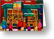 Store Fronts Greeting Cards -  St. Viateur Bagel Family Bakery Greeting Card by Carole Spandau