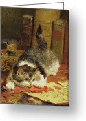 Ink Well Greeting Cards -  Stalking Cat Greeting Card by Charles van den Eycken