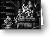 Wall Street Greeting Cards -  Statues by Entrance To Museum Greeting Card by Val Black Russian Tourchin