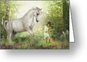 Pony Greeting Cards -  Stella and the Unicorn Greeting Card by Trudi Simmonds