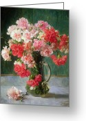Pink Carnations Greeting Cards -  Still life of Carnations   Greeting Card by Emile Vernon